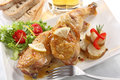 Dish of two roasted chicken legs Royalty Free Stock Photo