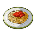 The dish in which wheat spaghetti with red sauce.Main dish vegetarian.Vegetarian Dishes single icon in cartoon style Royalty Free Stock Photo