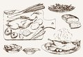 Dish of wild ducks set vector sketches Royalty Free Stock Photos