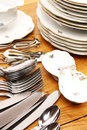 Dishes and cutlery set Stock Photo