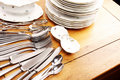 Dishes and cutlery set Royalty Free Stock Images