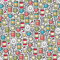 Dishes and food seamless pattern vector doodle illustration Royalty Free Stock Photography