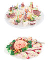 Dishes and food on the served table image of Royalty Free Stock Photography