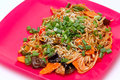 Dishes wok tasty noodles with vegetables cooked in Royalty Free Stock Photos