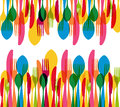 Dishware elements seamless pattern colorful cutlery illustration this vector illustration is layered for easy manipulation and Stock Photo