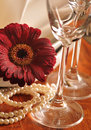 Dishware with flower Royalty Free Stock Photo