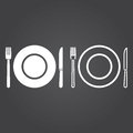 Dishware icon. Solid and Outline Versions. White icons on a dark