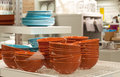 Dishware in store section a department closeup shot of bowls and plates on a shelf Royalty Free Stock Photo