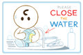 Dishwasher and save wold cartoon concept world signage warning sticker symbol design have wording please close the water or you Stock Images