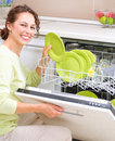 Dishwasher. Young woman doing Housework Royalty Free Stock Photo