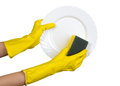 Dishwashing isolated on white hands in yellow rubber gloves washing plate Royalty Free Stock Photography