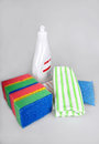 Dishwashing liquid and sponges bottle with washing towels Stock Photo
