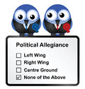 Disillusioned voters bird politicians with opinion on white background Royalty Free Stock Photo