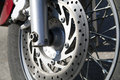 Disk brake system on a motorcycle Royalty Free Stock Photography