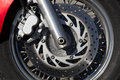 Disk brake system on a motorcycle Stock Photo