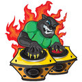 Disk jockey this illustration represents a black panther playing as in the background there is fire everything is divided into Stock Image