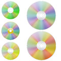 Disk set cd disks of different shades of the rainbow Royalty Free Stock Photos