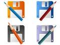 Diskette en potlood Stock Afbeelding
