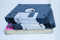 Diskette and notebook my data to save in for memories Stock Photography