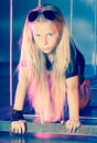 In disko style the beautiful girl blonde with long hair the disco image Royalty Free Stock Images