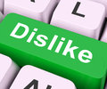 Dislike key means hate or loathe on keyboard meaning disapprove Stock Images