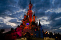 Disney castle in scary black clouds europe france photo taken Royalty Free Stock Photos