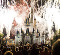 Disney fireworks show at walt world in florida Royalty Free Stock Photography