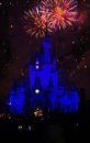 Disney magic kingdom fireworks at s cinderella castle at Royalty Free Stock Image