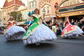 Disney princesses in parade at disneyland california with dressed long fancy dresses is on mai street usa and is a daily event for Royalty Free Stock Photos