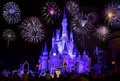 Disney`s Cinderella Castle With Fireworks Royalty Free Stock Photo