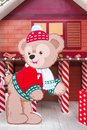 Disney Teddy Bear `Duffy` Paper Die-cut set up for Christmas and 2016 New Year Decoration Photo-booth at Central World in Happy Fa