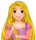 Disney vector illustration of Rapunzel, princess disney with very long magical blonde hair, fairy tale Royalty Free Stock Photo
