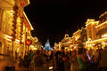 Disney world at night in orlando florida is beautifully decorated with bright lights and seasonal decorations this picture was Royalty Free Stock Photos