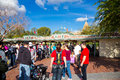 Disneyland entrance gate anaheim california usa february people wait in line at the to in california Stock Photo