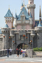 Disneyland hong kong visitors and tourists in front of the cinderella castle at Stock Photos
