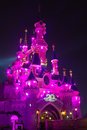 Disneyland Paris Castle illuminated at night. Stock Image