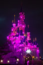 Disneyland Paris Castle illuminated at night. Royalty Free Stock Photo