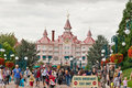 Disneyland paris people at exit gate Royalty Free Stock Photo