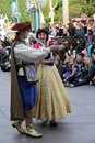 Disneyland princess snow white and prince charming walking by during a parade Royalty Free Stock Photo