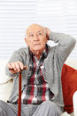 Disoriented demented senior man old citizen trying to remember Stock Image