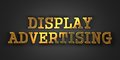 Display advertising marketing concept gold text on dark background d render Stock Photo