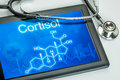 Display with the chemical formula of cortisol tablet Royalty Free Stock Photography