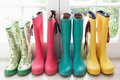 A display of colorful rain boots Royalty Free Stock Photo