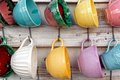 Display of cups a in pastel colours photographed in portugal Stock Image