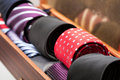 Display of man ties in a shop Royalty Free Stock Photo