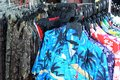 Display of several Hawaiian themed collared shirts for sale Royalty Free Stock Photo