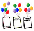 Display sign boards with balloons portable space for copy and celebrating happy birthday congrats and grand opening Royalty Free Stock Photo