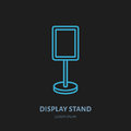 Display stand line icon. Advertising exhibition, promotion design element. Trade objects flat sign Royalty Free Stock Photo
