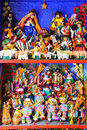 Display of traditional souvenir figures at the market in Lima, P Royalty Free Stock Photo