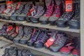 A display of walking boots Royalty Free Stock Photo